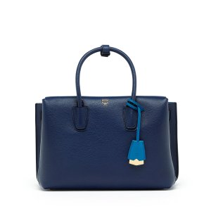 Medium Milla Tote in Navy Blue by MCM