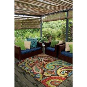 Carolina Weavers Indoor/Outdoor Santa Barbara Collection Floral Rainbow Multi Area Rug (5'2 x 7'6) - Free Shipping Today - Overstock.com - 16505606