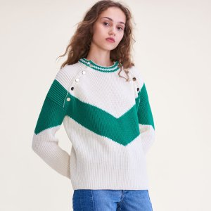 MARIANA Tricolour jumper with press studs