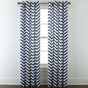 JCPenney Home 棉质条纹窗帘