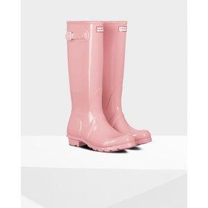 Womens Pink Tall Gloss Rain Boots 长款女士雨靴