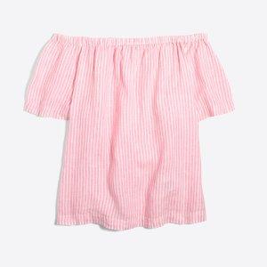 Striped linen off-the-shoulder top : Shirts & Tops | J.Crew Factory