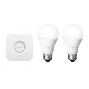 $40Philips Hue Starter Kit 2nd Generation (Refurbished) with Two White-light Bulbs