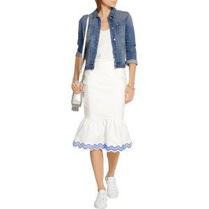 Fluted embroidered cotton-blend poplin skirt | SJYP Steve J & Yoni P |