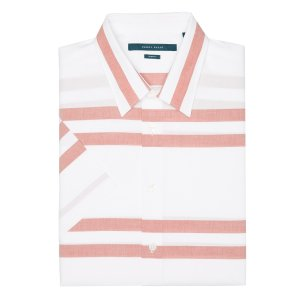 Short Sleeve Slim Fit Striped Shirt - Perry Ellis