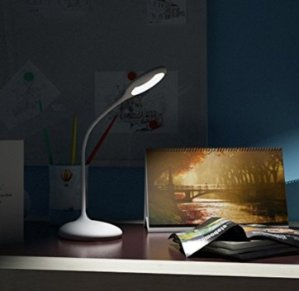 MAXOAK Dimmable Desk Lamp Kids Eye Care LED Table Lamp (Adjustable Gooseneck,touch Sensitive Control,lithium-ion Battery, USB Charging)for Home,office,bedroom,reading,studying,working -White
