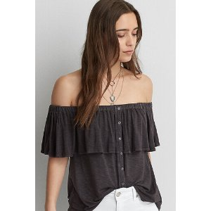 AEO Button Off-the-Shoulder Top