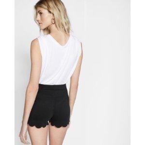 High Waisted Scalloped Hem Shorts | Express