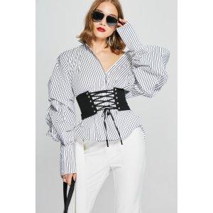 Puff Sleeves Stripe Shirt TP1901