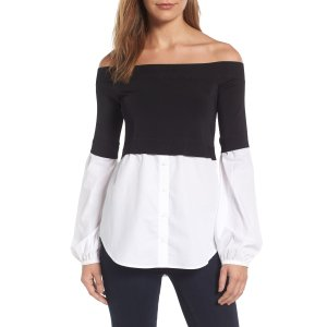 Trouvé Off the Shoulder Poplin Sweater