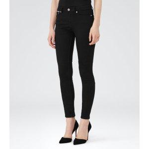 Alexis Black Mid-Rise Biker Jeans - REISS