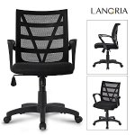 LANGRIA Mesh Executive Office Task Chair Hot Ergonomic 360 Degree Swivel Mesh Upholstered Seat Pan, Max 285 lbs (Black)