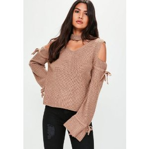 Missguided - Brown Cold Shoulder Sweater