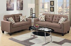 $419.63Poundex F6904 Bobkona Windsor Linen-Like 2 Piece Sofa and Loveseat Set, Light coffee