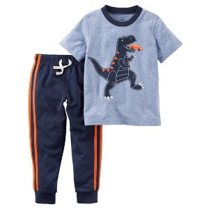 2-Piece Dinosaur Graphic Tee & French Terry Jogger Set