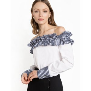 Paola Ruffled Off The Shoulder Top