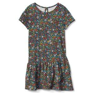 Print asymmetrical hem dress