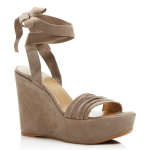 Stuart Weitzman Swifty Ankle Wrap Platform Wedge Sandals | Bloomingdale's
