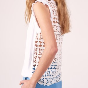 T-Shirt With Lace Back - Tops & Shirts - Sandro-paris.com