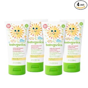 $6.66 + Free ShippingBabyganics Mineral-Based Baby Sunscreen Lotion, SPF 50, 2oz Tube (Pack of 4)