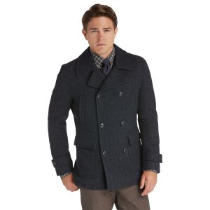 1905 Collection Traditional Fit Double-Breasted Herringbone Peacoat CLEARANCE - Outerwear   Jos A Bank
