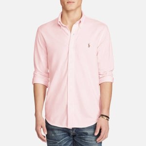 Polo Ralph Lauren Men's Long Sleeve Full Button Sport Shirt - Pink/White