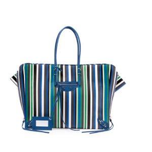 Balenciaga Papier B4 AJ Striped Zip-Around Tote Bag