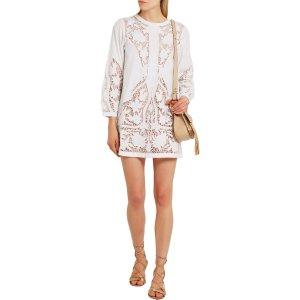 Juniper guipure lace-paneled embroidered cotton-poplin mini dress | Maje
