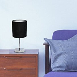 $7.59(Orig $22)Simple Designs LT2007-BLK Chrome Mini Basic Table Lamp with Fabric Shade