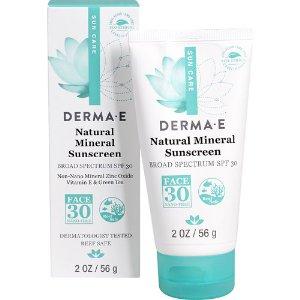 Derma E Natural Mineral Sunscree Face 30 -- 2 oz