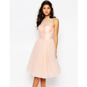 Chi Chi London Glitter Tulle Midi Dress with Pleated Bust