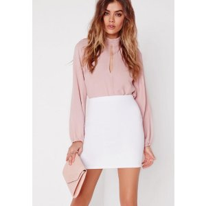 Petite White Scuba Mini Skirt - Missguided