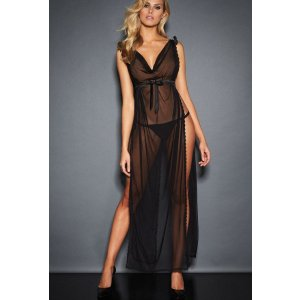 KATE DRAPED SATIN AND MESH GOWN