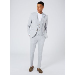 Light Blue Cotton Blend Skinny Fit Suit - Skinny & Ultra Skinny Suits