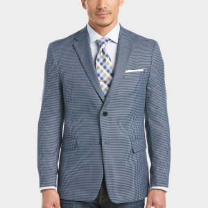 Tommy Hilfiger Blue Houndstooth Slim Fit Sport Coat - Men's Sport Coats | Men's Wearhouse