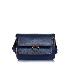 Marni Night Blue Saffiano Leather Medium Trunk Bag