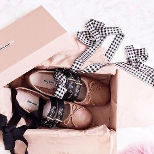 低至4折+直减$250 春夏入新鞋Miu Miu女士平底女士平底鞋,凉鞋,粗跟鞋等 天蓝色芭蕾鞋上新