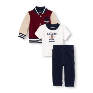 Baby Boys Long Sleeve Varsity Jacket Graphic Tee And Jogger Pants 3-Piece Set | The Children's Place