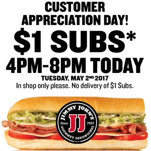 $1 Subs Celebrate!Jimmy John's Sub Special from 4pm-8pm
