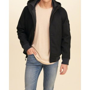 Guys Hooded Wool-Blend Bomber Jacket | Guys Clearance | HollisterCo.com