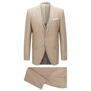 Virgin Wool Silk 3-Piece Suit, Slim Fit | Hutson/Gander