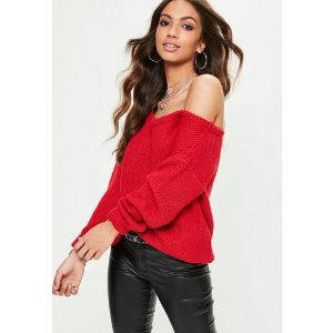 Missguided - Red Off Shoulder Sweater