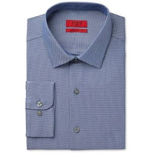 Alfani RED Men's Fitted Blue Pebbled Dress Shirt, Only at Macy's - Dress Shirts - Men - Macy's