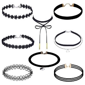 Amazon.com: Outus 8 Pieces Choker Necklace Set Stretch Velvet Classic Gothic Tattoo Lace Choker Necklaces, Black: Arts, Crafts & Sewing