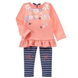 Toddler Girls Peach Floral & Stripe Set by Gymboree