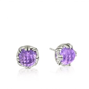Peter Thomas Roth Ribbon and Reed Fantasies Lavender Amethyst Stud Earrings in sterling silver