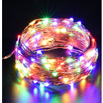 DecorNova 39.4 Feet 120 LED Flexible Copper Wire Fairy Starry String Lights with 3V Adapter & Remote Control for Christmas Parties Holiday Decorations, Multicolor