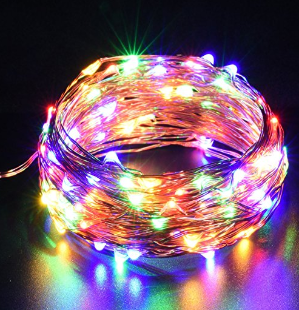 $3DecorNova 39.4 Feet 120 LED Flexible Copper Wire Fairy Starry String Lights with 3V Adapter & Remote Control for Christmas Parties Holiday Decorations, Multicolor
