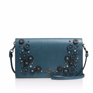 Foldover Crossbody Clutch in Polished Pebble Leather with Willow Floral