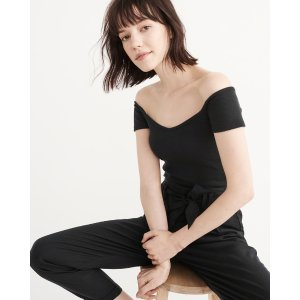 Womens Off-The-Shoulder Rib Cropped Top | Womens Clearance | Abercrombie.com